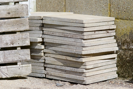 Stack of concrete paving slabs Stock Photo