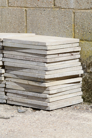 slabs: Stack of concrete paving slabs Stock Photo