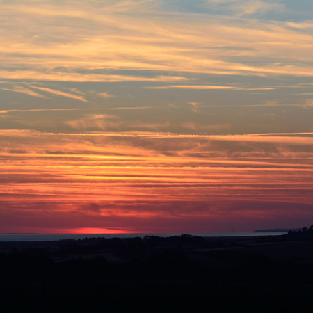 french countryside: Sunset in French countryside