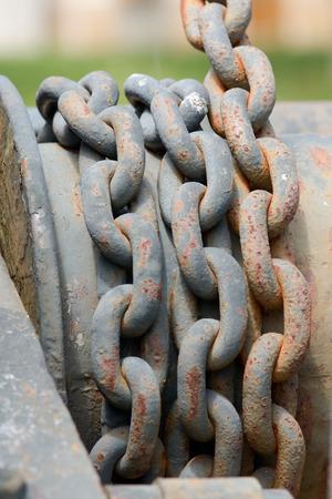 man made object: Metal chain on crane