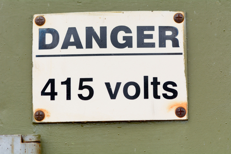 volts: Danger 415 Volts sign Stock Photo