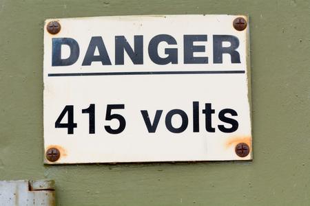 volts: Danger 415 Volts sign Stock Photo