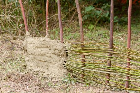 daubed: Wattle and daub traditional building method