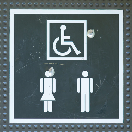 wheelchair access: Toilet door sign - access to all