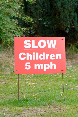 mph: Slow - Children 5MPH maximum speed sign