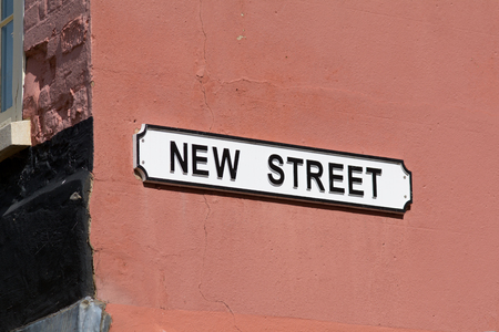 New Street sign on wall