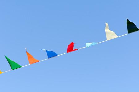 fluttering: Carnival bunting flags fluttering in wind