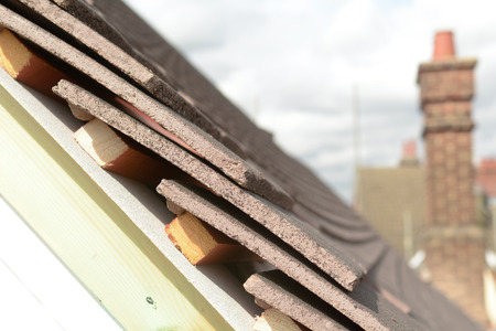 roof tiles: Roof tiles at end of roof