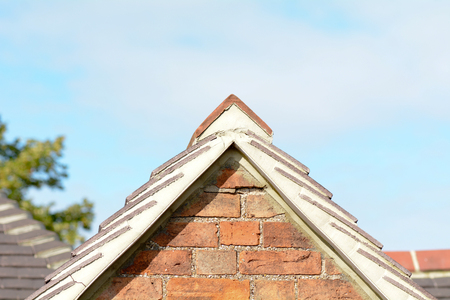 Gable end of house roof Stock Photo