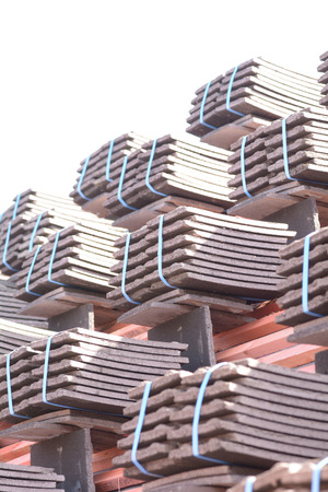 roof tiles: Stacks of roof tiles on roof ready to fit