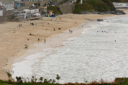 cornwall: View of Porthmeor beach, St Ives, Cornwall, England