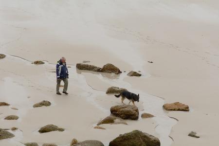 sennen: Sennen Cove, Cornwall, England October,24 2014: Man walking his dog on the beach Editorial