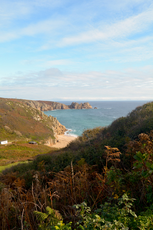 porthcurno: Logan Rock headland and Porthcurno beach, Cornwall, England