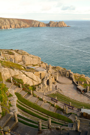 headland: Logan Rock headland and Minack Theatre, Porthcurno, Cornwall, England
