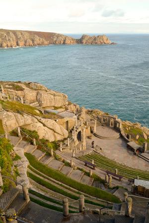 porthcurno: Logan Rock headland and Minack Theatre, Porthcurno, Cornwall, England