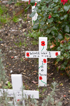 memorial cross: Uno Memorial de la Cruz Guerra Mundial - 100 aniversario el año 1914-2014 con la amapola pintada Foto de archivo