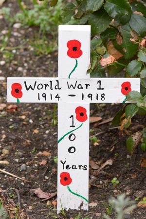 world war one: World War One Memorial Cross - 100 year anniversary 1914-2014 with painted poppy