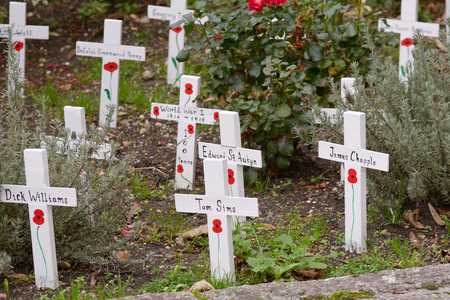 world war one: World War One Memorial Crosses with painted poppy Stock Photo