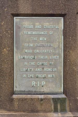 world war one: World War One 1914-1918 Memorial Plaque in Chudleigh, Devon, England