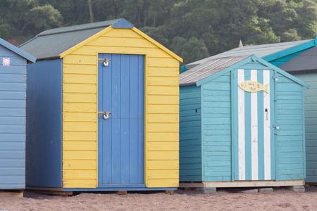 devon: Beach huts in Teignmouth, Devon, England