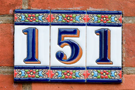 inform information: House number 151 sign Stock Photo