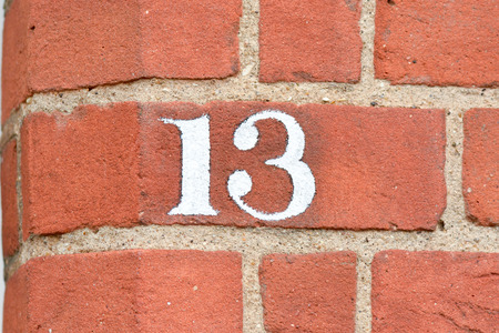 13: House number 13 sign Stock Photo