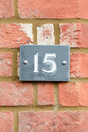 number 15: House Number 15 sign Stock Photo