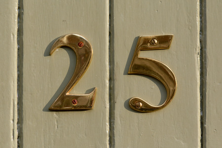 25: House Number 25 sign