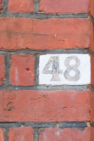 inform information: House Number 48 sign Stock Photo