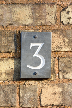 House number 3 sign