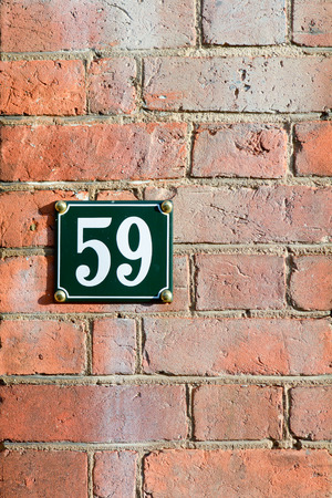 house  houses: House number 59 sign