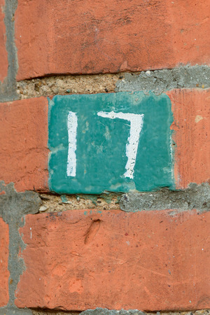 House number 17 sign