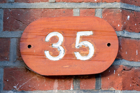 35: House number 35 sign Stock Photo