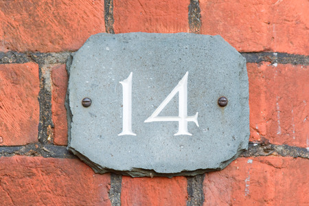 number 14: House number 14 sign
