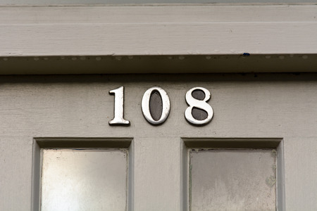 inform information: House number 108 sign Stock Photo