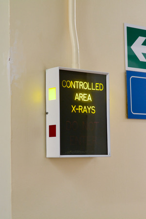 controlled: Controlled X-ray area electronic warning sign in hospital