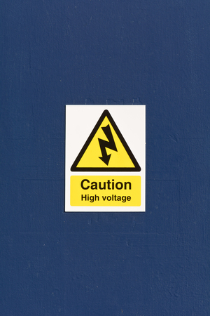 inform information: Caution High Voltage sign Stock Photo