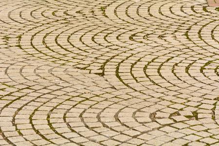 paving: Curved stone paving pattern Stock Photo