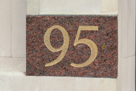 inform information: House number 95 sign Stock Photo