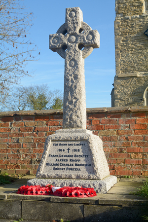 worl: Great war memorial at St Marys Church at Woughton-on-the-Green, Buckinghamshire, England