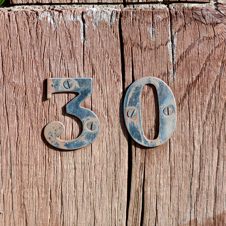 30: House number 30 sign Stock Photo