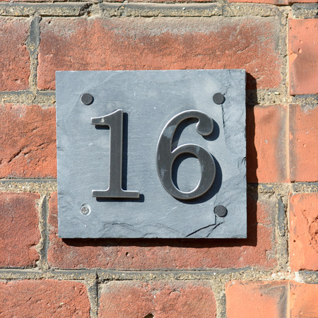 number 16: House number 16 sign Stock Photo