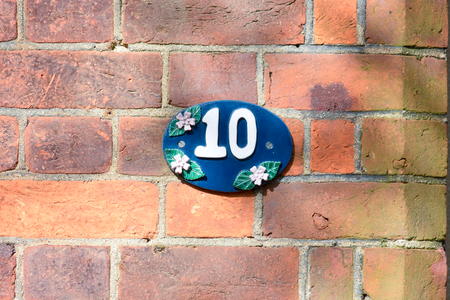 10: House number 10 sign Stock Photo