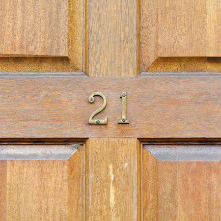 inform information: House number 21 sign Stock Photo