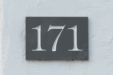 inform information: House number 171 sign Stock Photo