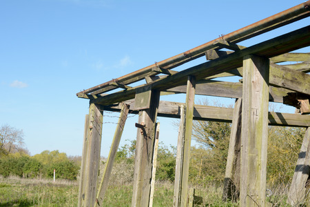 derelict: Derelict barn structure in English countryside Stock Photo