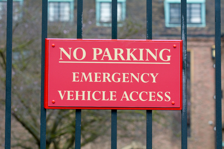 emergency vehicle: No Parking - Emergency Vehicle Access only sign