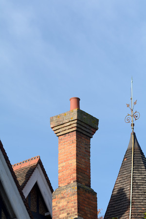 Chimney stack on roof