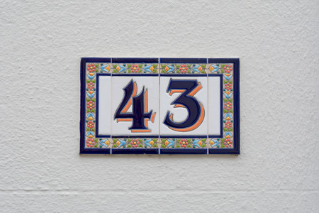 House number 43 sign in ceramic tiles