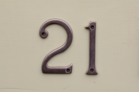 House number 21 sign Stock Photo